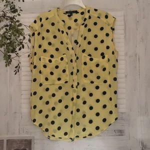 Velvet Heart yellow black polka dot top blouse